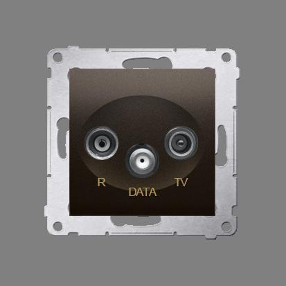 Antennensteckdose TV-DATA 2x 'F' 5-1000 MHz braun Simon 54 Premium Kontakt Simon DAD1.01/46