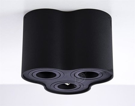 Aufbaustrahler Deckenspotleuchte 3 schwarz black 3xGU10 IP20 rund 3-flammig