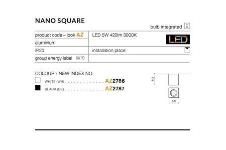 Aufbaustrahler NANO SQUARE Modern Aluminium Weiß Azzardo AZ2786