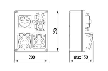 Baustromverteiler, Wandverteiler , Stromverteiler  R-BOX 240 2x32A/5P 4x250V B.1627 Pawbol