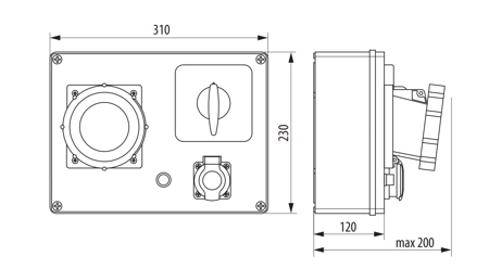 Baustromverteiler, Wandverteiler , Stromverteiler  R-BOX 300 2x32A/5P, 2x16A/5P, 2x250V B.18.354 Pawbol