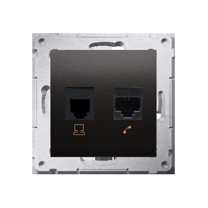 Comuterdose RJ45 Kat.5e Modul und Telefondose RJ12 anthrazit matt Kontakt Simon 54 Premium D5T.01/48