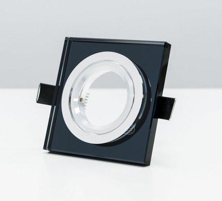 Deckeneinbauleuchte Deckenstrahler dekorativ eckig schwenkbar GU10/MR16 Glas schwarz