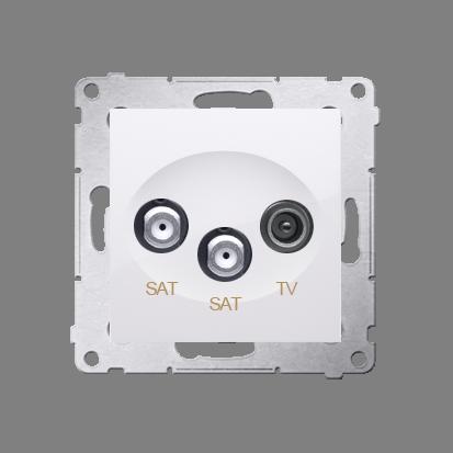 Doppel- Antennensteckdose SAT-SAT-RTV 1dB Simon 54 Premium Kontakt Simon DASK2.01/11