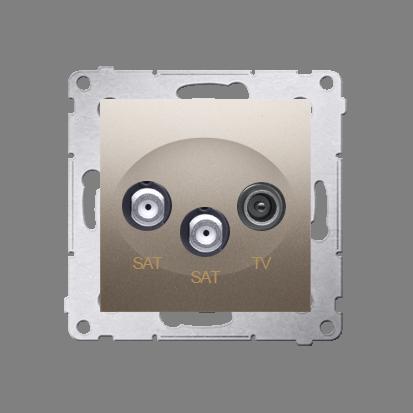 Doppel- Antennensteckdose SAT-SAT-RTV 1dB gold matt Simon 54 Premium Kontakt Simon DASK2.01/44