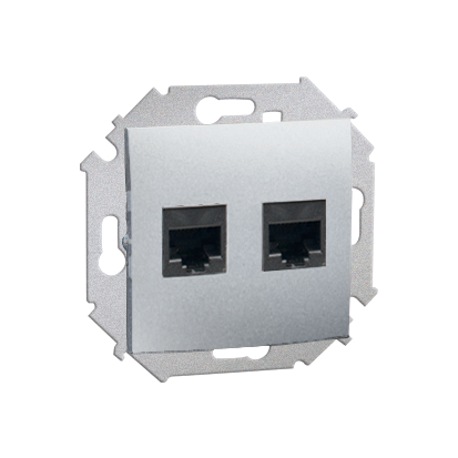 Doppel Computersteckdose RJ45 Kat. 6 Aluminium Kontakt Simon 1591562-026