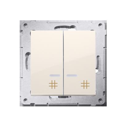 Doppel- Kreuzschalter (Modul) mit Aufdruck und LED Cremeweiß Kontakt Simon 54 Premium DW7/2L.01/41