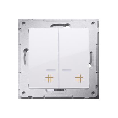 Doppel- Kreuzschalter (Modul) mit Aufdruck und LED Weiß Kontakt Simon 54 Premium DW7/2L.01/11