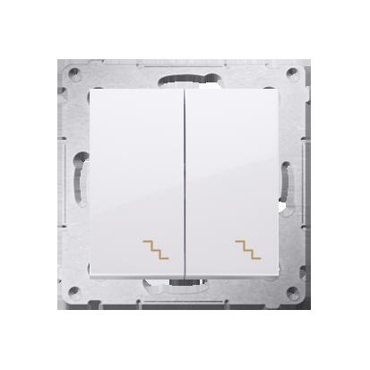 Doppel- Treppenschalter (Modul) mit Aufdruck und LED weiß Kontakt Simon 54 Premium DW6/2L.01/11