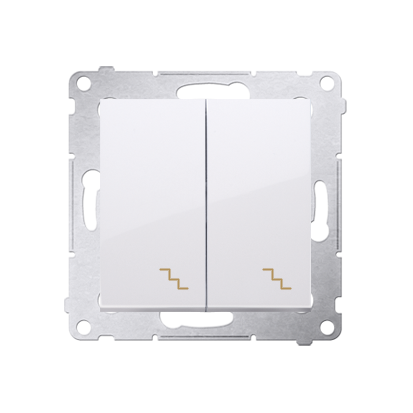 Doppel- Treppenschalter (Modul) mit Aufdruck weiß Kontakt Simon 54 Premium DW6/2.01/11
