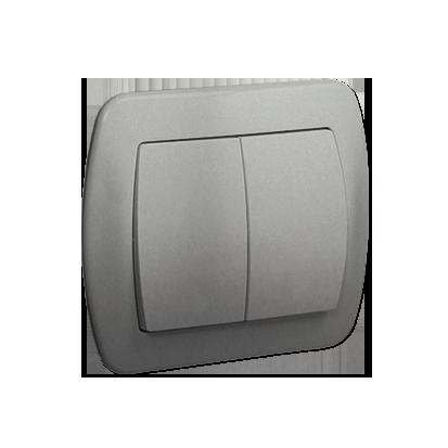 Doppel- Treppentaster 2fach 10AX silber met. Kontakt Simon AW6/2/26
