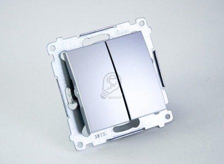 Doppeltaster ohne Aufdruck Steckklemmen Silber Simon 54 Premium Kontakt Simon DP2.01/43