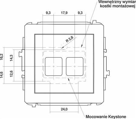 Doppelte Multimedia-Slot-Mechanismus ohne Modul (Keystone-Standard) braun 9DGM-2P