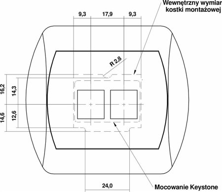 Doppelte Multimedia-Slot-Mechanismus ohne Modul (Keystone-Standard) gold 8GM-2P