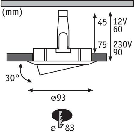 Einbauleuchte schwenkbar rund NOVA GU10 i GU5,3 IP65 - Weiß/Chrom Paulmann PL93663
