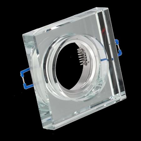 Glass Deckenstrahler Einbaustrahler CRYSTAL GRANDE SILVER quadratisch silber dickes Glas EDO777132 EDO