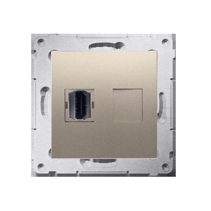 HDMI Anschlussdose Modul-Einsätze 1fach Gold matt Simon 54 Premium Kontakt Simon DGHDMI.01/44