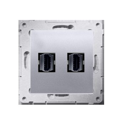HDMI Anschlussdose Modul-Einsätze 2fach silber matt Simon 54 Premium Kontakt Simon DGHDMI2.01/43