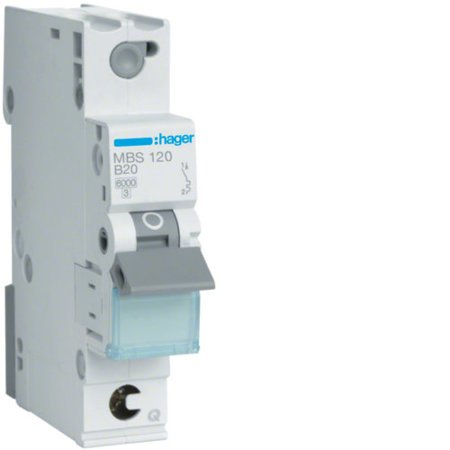 Hager MBS120  Leitungsschutzschalter 1 polig 6kA B-Charakteristik 20A Quick Connect 1 Modul