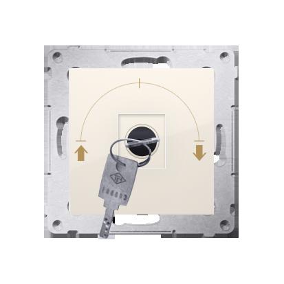 """Jalousie-Schlüsselschalter 1polig """"0-I-II"""" Cremeweiß Kontakt Simon 54 Premium DPZK.01/41"""