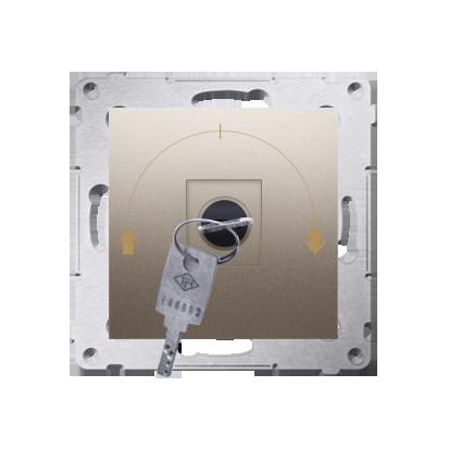 """Jalousie-Schlüsselschalter 1polig """"0-I-II"""" Gold Kontakt Simon 54 Premium DWZK.01/44"""