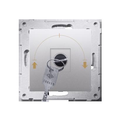 """Jalousie-Schlüsselschalter 1polig """"0-I-II"""" Silber Kontakt Simon 54 Premium DWZK.01/43"""