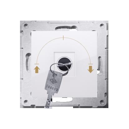 """Jalousie-Schlüsselschalter 1polig """"0-I-II"""" Weiß Kontakt Simon 54 Premium DWZK.01/11"""