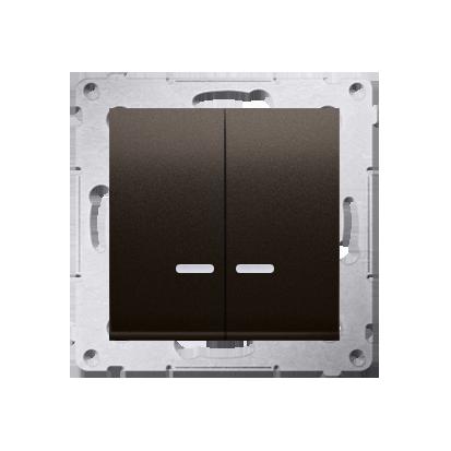 Kerzenschalter (Modul) 2x 1polig mit LED Braun matt IP44 Kontakt Simon 54 Premium DW5BL.01/46