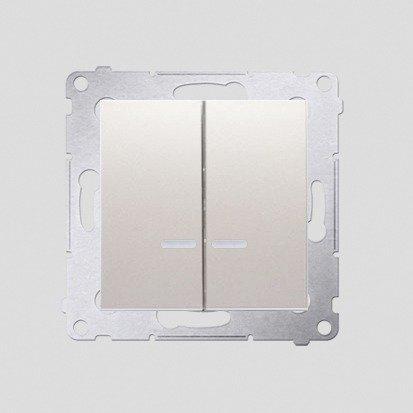 Kerzenschalter (Modul) 2x 1polig mit LED cremeweiß IP44 Kontakt Simon 54 Premium DW5BL.01/41