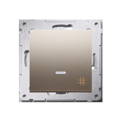 Kreuzschalter (Modul) mit Aufdruck und LED Gold Kontakt Simon 54 Premium DW7L.01/44