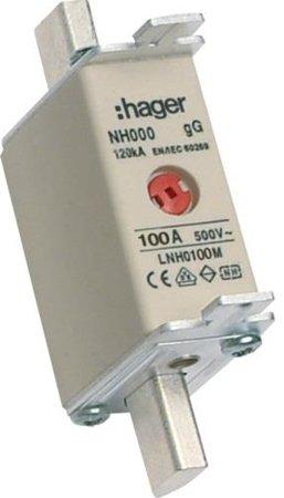 NH-Sicherungseinsatz NH000 gG 500V 100A Kombi-Melder mit Metall-Grifflasche Hager LNH0100M