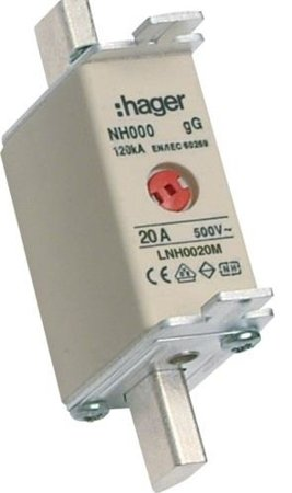 NH-Sicherungseinsatz NH000 gG 500V 20A Kombi-Melder mit Metall-Grifflasche Hager LNH0020M