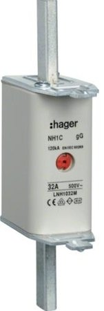 NH-Sicherungseinsatz NH000 gG 500V 32A Kombi-Melder mit Metall-Grifflasche Hager LNH0032M