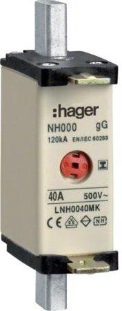 NH-Sicherungseinsatz NH000 gG 500V 40A Kombi-Melder mit isolierter-Grifflasche Hager LNH0040MK