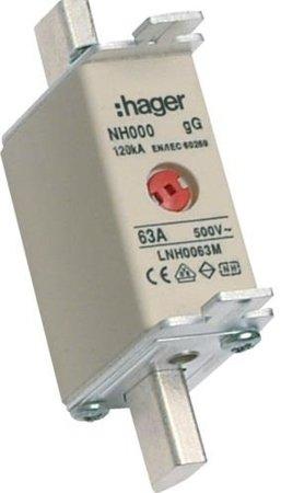 NH-Sicherungseinsatz NH000 gG 500V 63A Kombi-Melder mit Metall-Grifflasche Hager LNH0063M