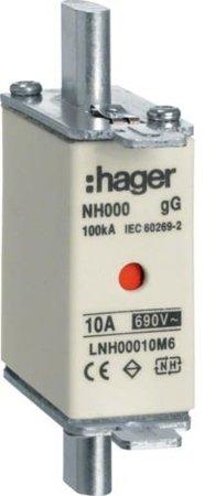 NH-Sicherungseinsatz  NH000 gG 690V 10A Kombimelder Grifflasche spannungsführend Hager LNH00010M6