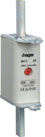 NH-Sicherungseinsatz NH1C gG 500V 125A Kombi-Melder Grifflasche spannungsführend Hager LNH1125M