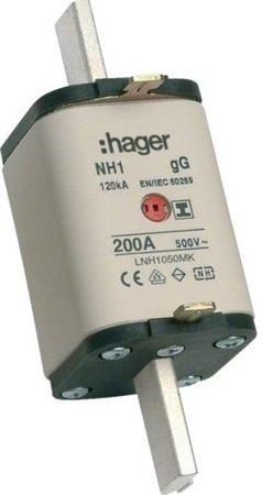 NH-Sicherungseinsatz NH1C gG 500V 200A Kombi- Melder mit isolierter  Grifflasche Hager LNH1200MK