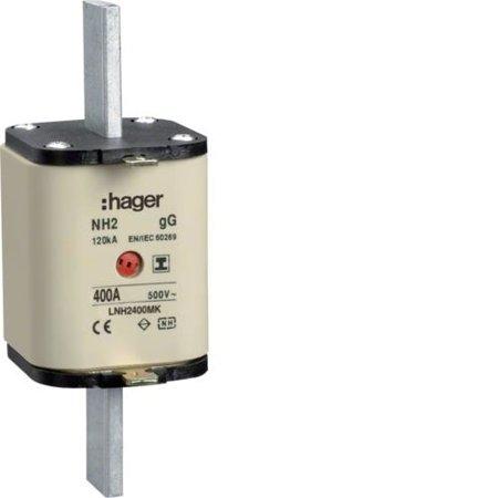 NH-Sicherungseinsatz NH2 gG 500V 400A Kombi- Melder mit isolierter Grifflasche Hager LNH2400MK