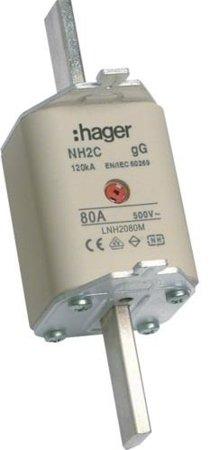 NH-Sicherungseinsatz NH2C gG 500V 80A Kombi- Melder Grifflasche spannungsführend Hager LNH2080M