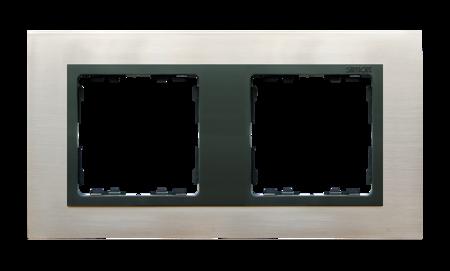 Rahmen 2fach Glas Inox/ Zwischenrahmen graphit Kontakt Simon 82 82827-37