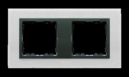 Rahmen 2fach Glas Inox matt/ Zwischenrahmen graphit Kontakt Simon 82 82827-31