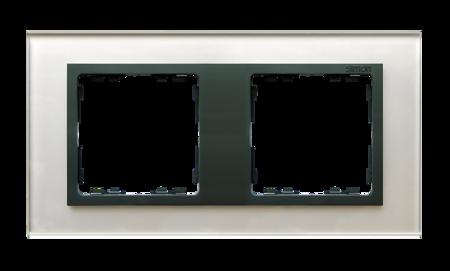 Rahmen 2fach Glas silber/ Zwischenrahmen graphit Kontakt Simon 82 82827-35