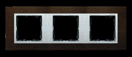 Rahmen 3fach wenge/ Zwischenrahmen aluminium matt Kontakt Simon 82 82937-65