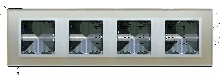 Rahmen 4fach Glas silber/ Zwischenrahmen  Aluminium matt Kontakt Simon 82 82947-62