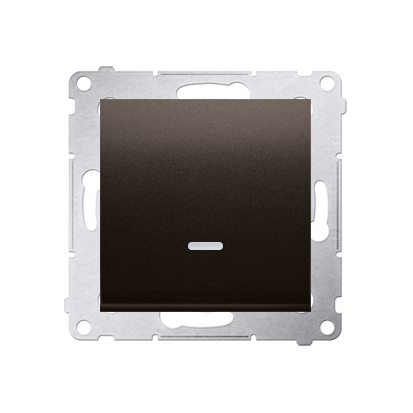 Schalter (Modul) 1polig mit LED Braun matt Kontakt Simon 54 Premium DW1L.01/46