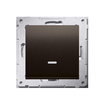 Schalter (Modul) mit LED (blaue Linse) Braun matt Kontakt Simon 54 Premium DW1AL.01/46