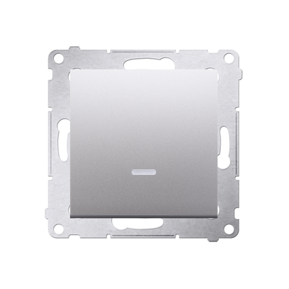 Schalter (Modul) mit LED (blaue Linse) Silber matt Kontakt Simon 54 Premium DW1AL.01/43