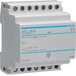Sicherheitstrafo 230V / 12V und 24V 25VA 4PLE Hager ST312