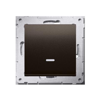 Taster Wechsler (Modul) 1 polig mit LED und Braun Kontakt Simon 54 Premium DP1L.01/46